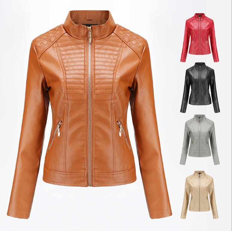 Yeni Kadın Tasarımcı Ceketler İlkbahar Sonbahar Deri Tişörtü Kış Moda Marka Ceket Rahat Fermuar Streetwear 5 Renkler Mevcut