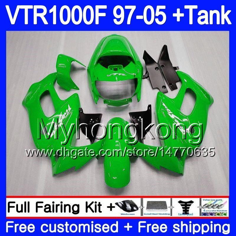 Cuerpo para HONDA SuperHawk VTR1000F 97 98 99 00 01 02 256HM.6 VTR1000 F VTR 1000 F 1000F Verde brillante 1997 1998 1999 2000 2001 2002 Carenado