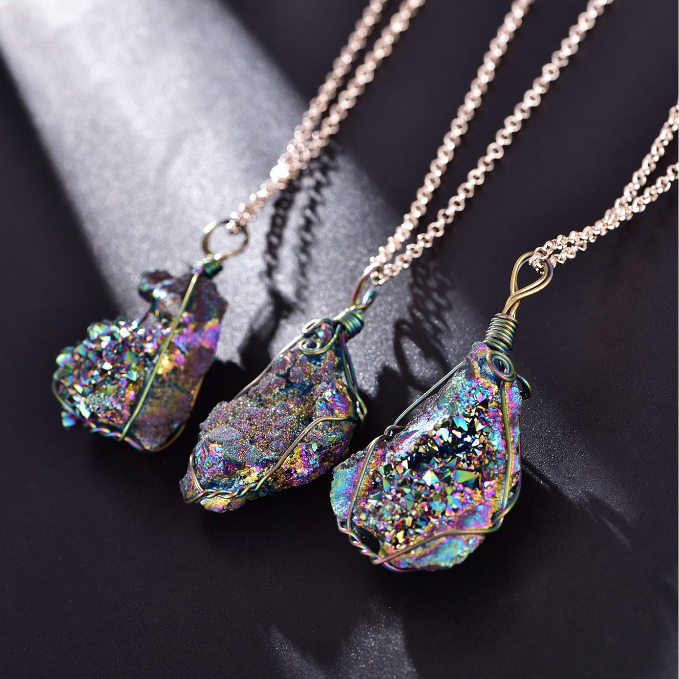 شقرا الحجر الطبيعي قلادة غير النظامية الخام المعدنية كريستال الكوارتز Druzy قلادة بيان قلادة خمر المجوهرات هدية عيد الميلاد