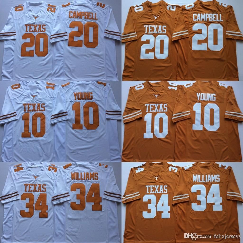 34 Ricky Williams Texas Longhorns 10 Vince Young 20 Earl Campbell NCAA College Football Jerseys 더블 스티치 이름과 번호