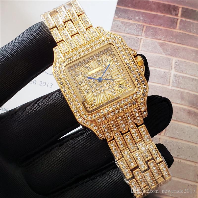كبار الفاخرة بيع الساعات للنساء يثلج خارجا عن سيدة الماس ووتش حركة كوارتز حزام الفولاذ المقاوم للصدأ ذات جودة عالية مصمم ساعة اليد