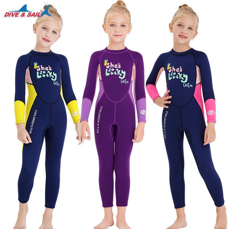 Детский теплый купальный костюм 2.5 мм цельный водолазный костюм девушки с длинным рукавом холодостойкий подводное плавание серфинг Медуза гидрокостюм K