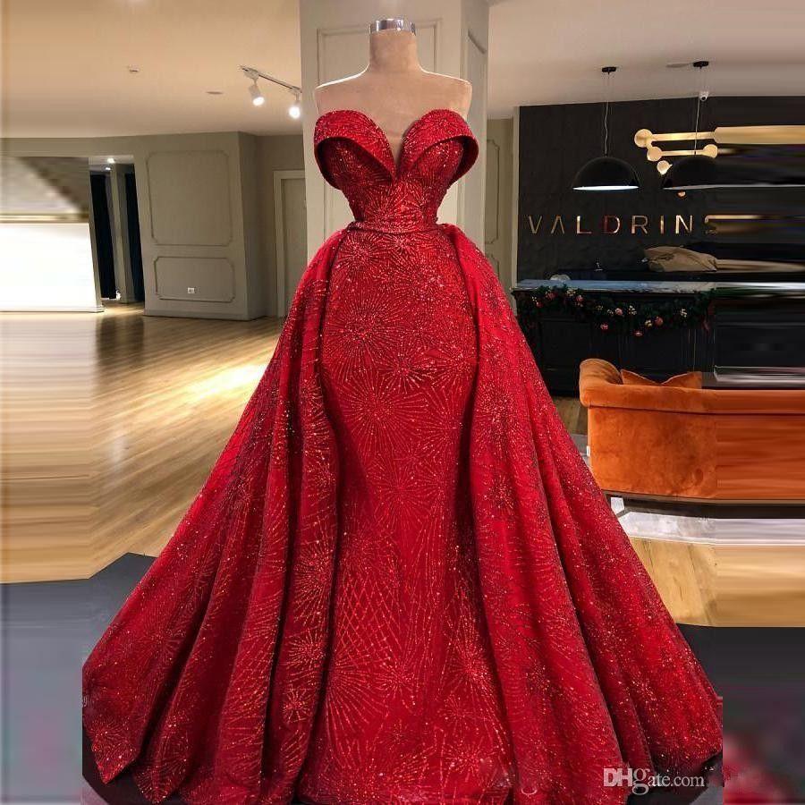 Red overskirts Prom Vestidos brilhante apliques Querida Sereia Vestido Voltar Zipper vestidos de novia Plus Size celebridade Partido Vestidos