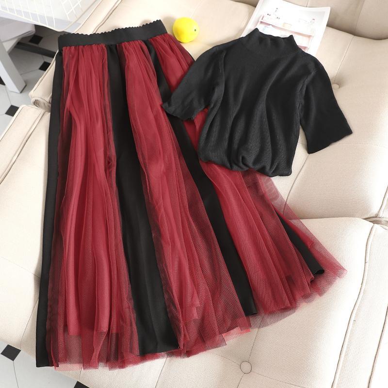 Два куска платье Gaganight мода женские кусочки с коротким рукавом черный вязать футболку эластичная высокая талия длинная плиссированная юбка 2 лето