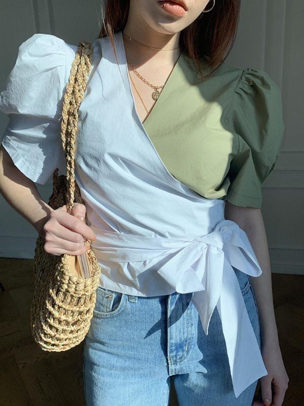 % 100 Pamuk Bindirme Beyaz Yeşil V yaka Bayan 2020 Yaz Puff Kol Şık Womens Bluz Gömlek Moda Giyim Tops Tops