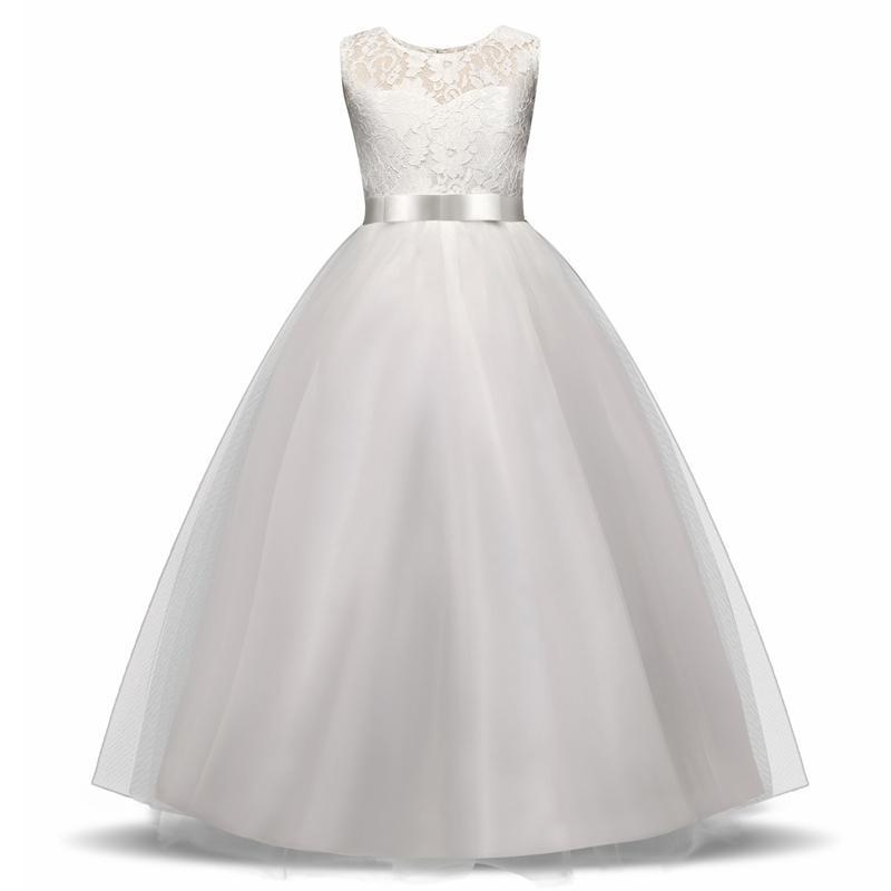 Elegant Flower Girl Dress Teenage White Formal Prom Gown For Wedding Kids Girls Long Dresses Children Clothing New Tutu Princess J190618