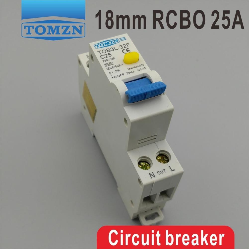 전류 및 누설 보호를 통해 홈 개선 TOB3L-32F 18MM RCBO 25A 1P + N 6KA 잔류 전류 회로 차단기