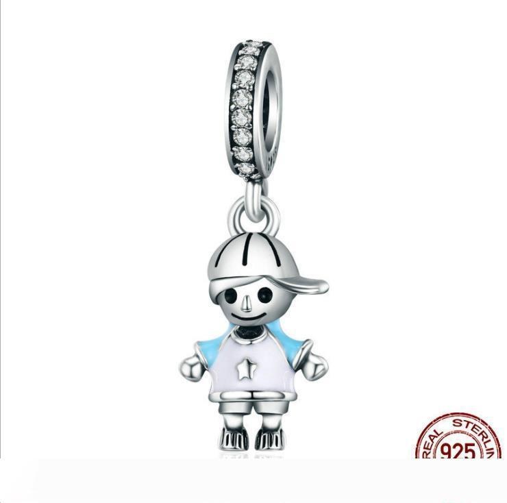 Boy charms dangle authentic S925 sterling silver fits for pandora style bracelet free shipping
