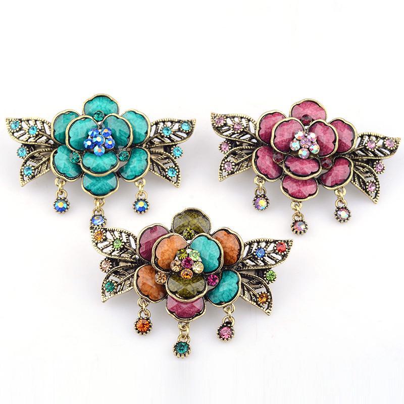 Korean women's fashion hairpin ancient style headpiece rose spring edge clip top clip hairpin step shake insert diamond ornaments wholesale