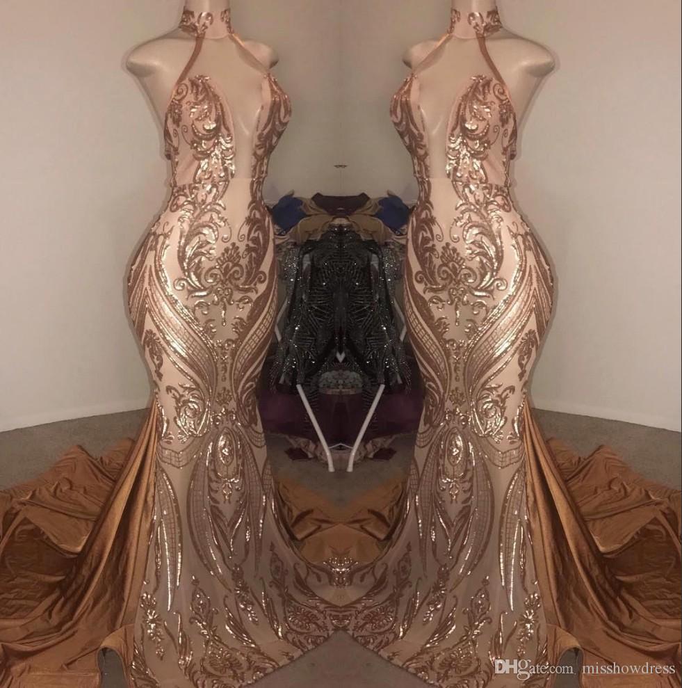 Elegant Halter Lantejoulas Sereia Vestidos de Prom Vestidos 2019 Satin Ruched Swewer Trem Formal Party Vestidos de noite BC1734