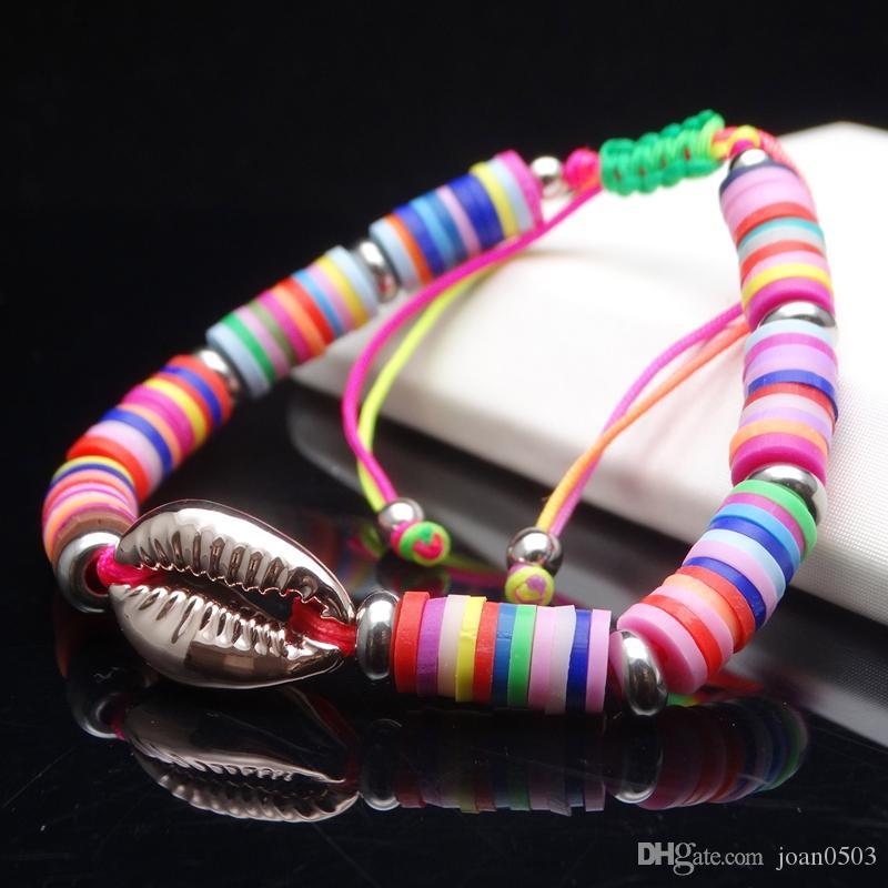 colores del arco iris-brazalete de cuentas de goma de resina con la concha grano estilo de moda joven con la pulsera del grano de la joyería SUN
