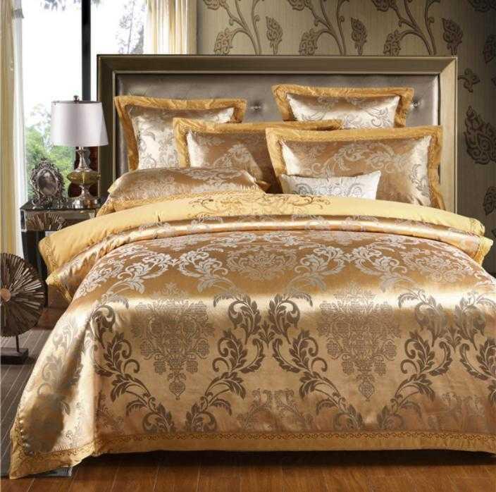Oro raso jacquard letto di Regina King Size 4 pezzi ricamato copripiumino lenzuolo decorazione Lino del cotone di seta casa