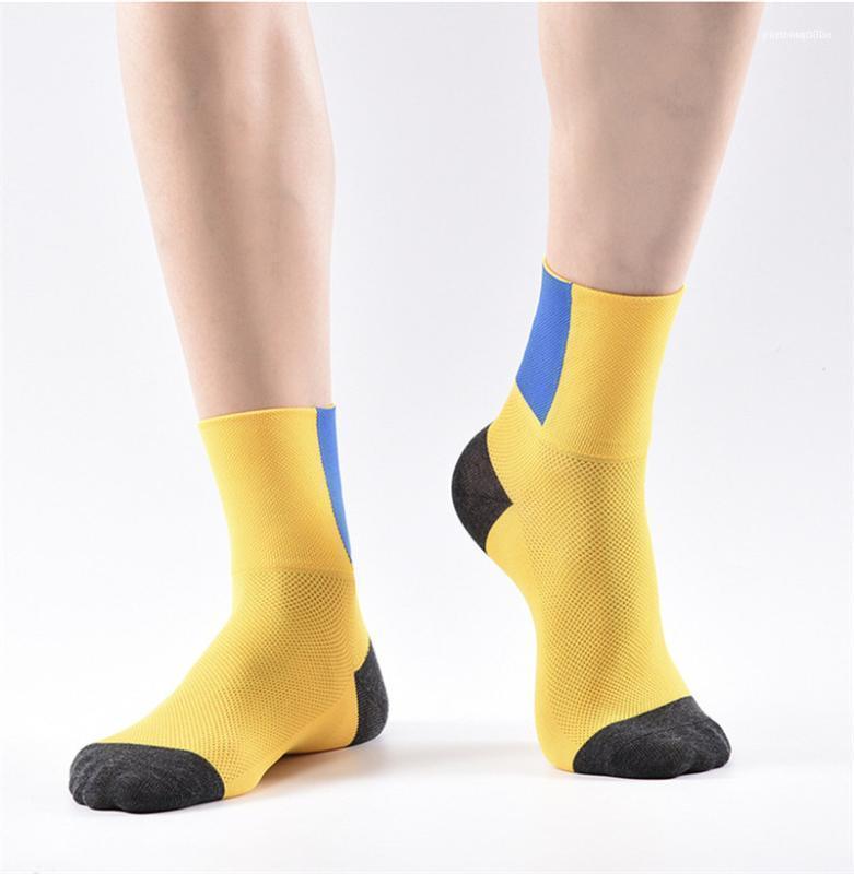 Medias Colores con paneles Running para mujer para hombre calcetines para hombre del diseñador calcetines de malla transpirable absorción del sudor del motorista Deportes