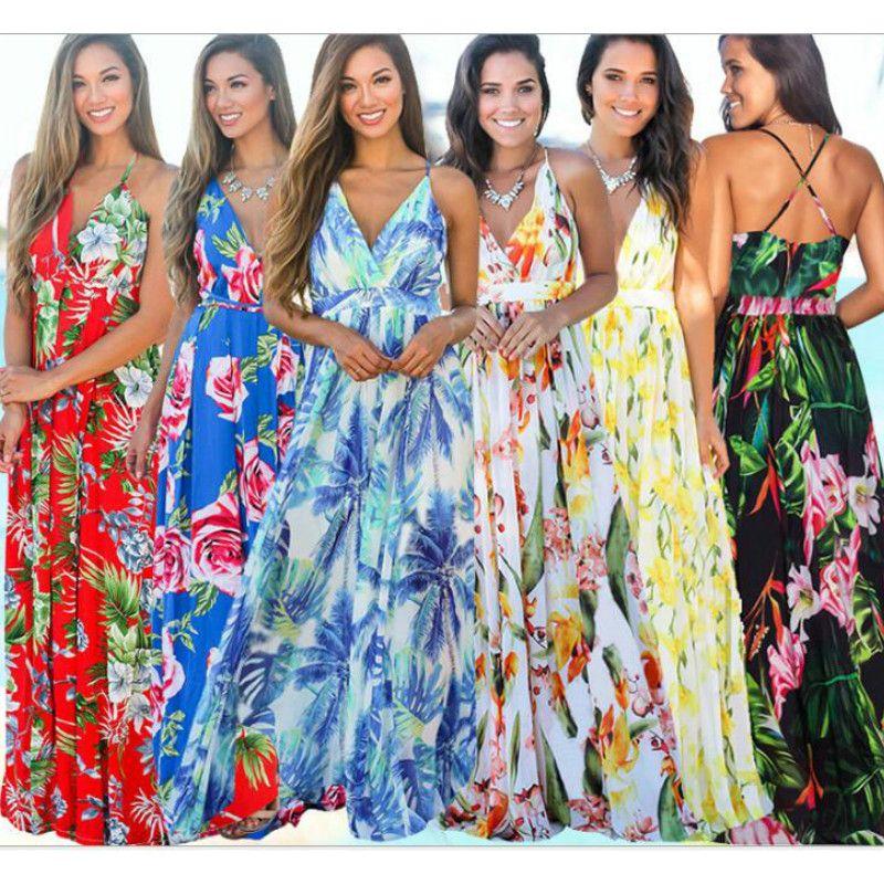Summen Women Bohemia Dresses Fashion floral print BOHO Maxi Beach Dress Sexy Deep V Sleeveless casual Chiffon party dress holiday long dress