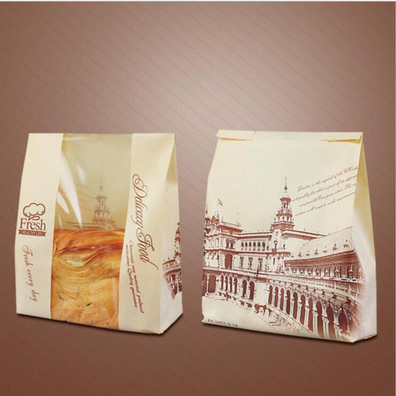 Подарочная упаковка 21+9*33 см прозрачное окно Крафт-тост мешок пищевой выпечки бумажные мешки для хлеба бумаги закуски хлеб мешок партии поставок