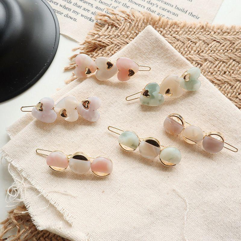 1pc Cute Acetic Acid Love Heart Round Hairpins Metal Macaron Color Hair Clips Hair Accessories Hair Styling Tools dropship