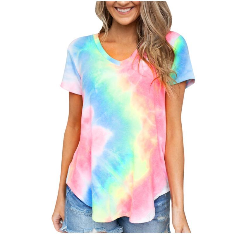 여성 타이 죽어 T 셔츠 여성 짧은 소매 Colorblock 튜닉 여름 티셔츠 2020 여성 섹시한 V 넥 다채로운상의 스트리트 탑