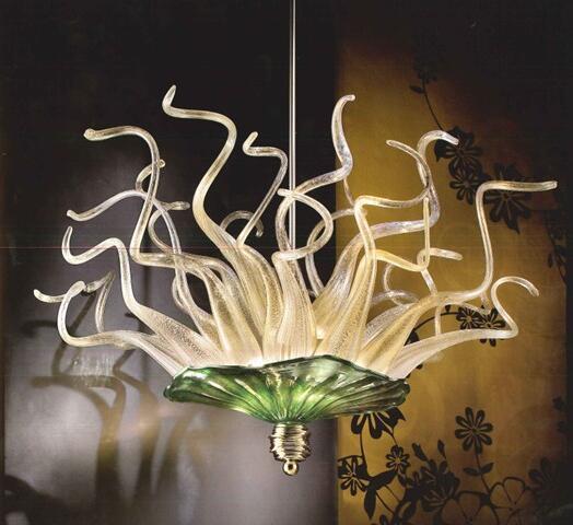 Pas cher Ceiling Light Livraison gratuite Artisanat rustique Fer Grand Hôtel New lustre en verre soufflé à la main (LR279)