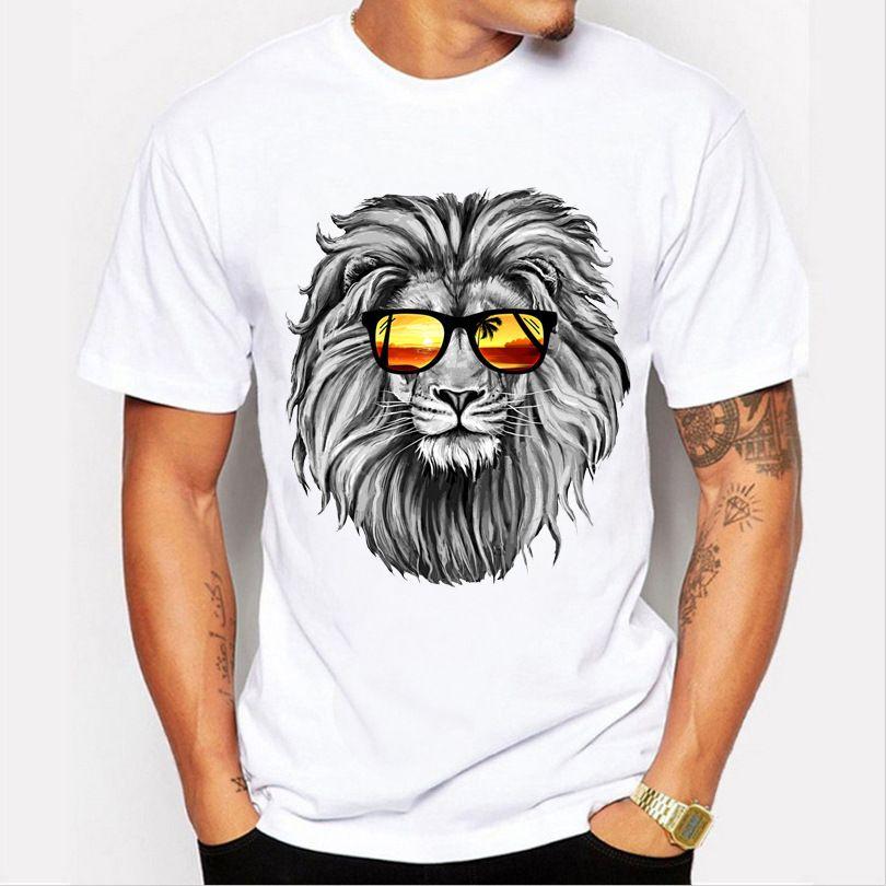 Короткие рукава дизайнерские короны случайные летние мужчины льва 3D белый мужской 4xL мода животных футболка печать мужчины Homme Tops брендопользования рубашка Tee T-Shi PPOP