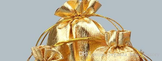 100 pçs / lote banhado a ouro de gaze de cetim jóias sacos de cordão de organza organza presente de natal bolsas saco de embalagem 7x9 cm 9x12 cm