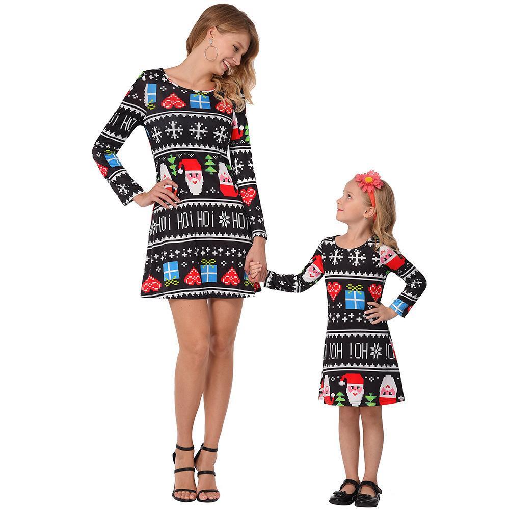 Fairy2019 Istasyonu Avrupa Marka Suit-elbise Yeni Ürün Baskı Noel Ebeveynlik Giyim Elbise Çocuk Sonbahar