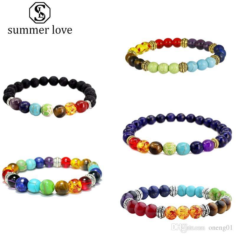 Venta caliente 7 Chakra 8 MM Healing Balance Beads Pulsera para Mujeres Hombres Tamaño Ajustable Naturaleza Piedra Pulsera de Yoga Joyería de Moda Regalo