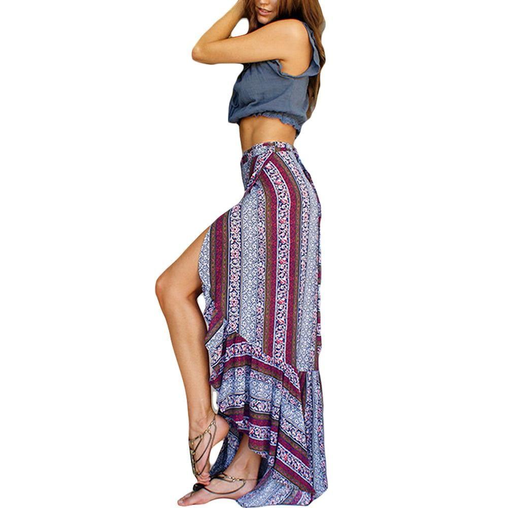 Primavera de cintura alta Boho Imprimir Faldas Mujeres Split Falda Maxi Elegante Señora Floral Falda de playa Mujer Chic Vintage Summer Long falda