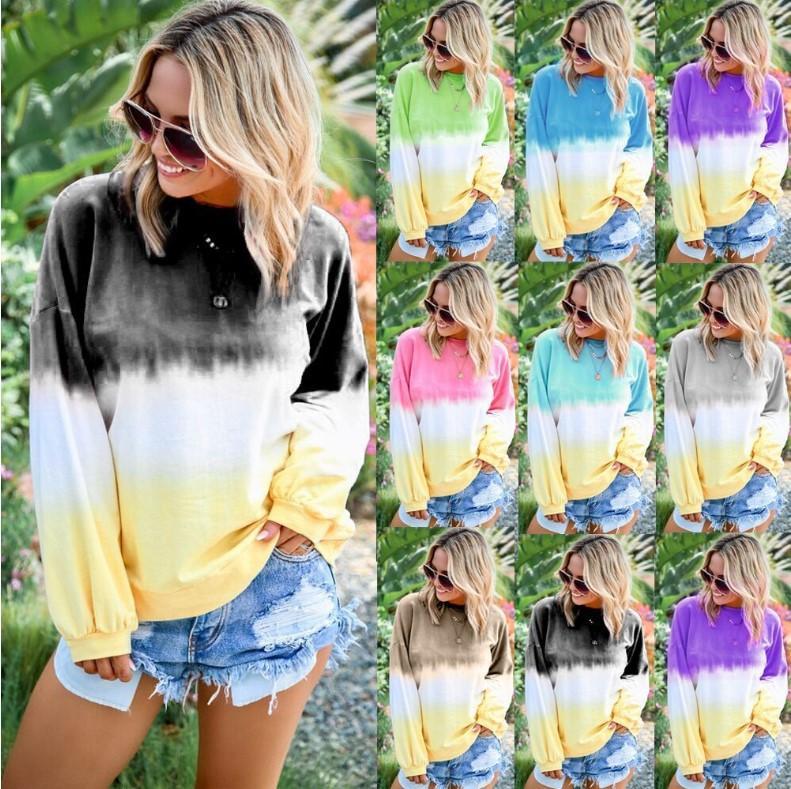 Kadınlar Lüks Sonbahar Moda Hoodie Bayan Patlama Gökkuşağı Degrade Baskılı Uzun Kollu Tasarımcı Sweatershirts 9 Renk Artı Boyutu S-5XL