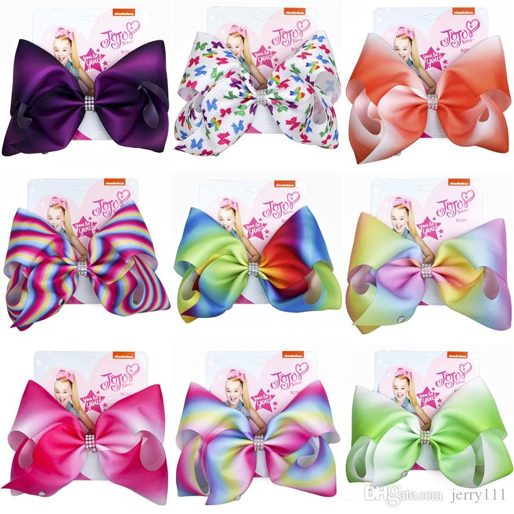 8 inch Jojo Siwa Bows With Clip hair accessories for girls JOJO Hair Bows 11 Colors Large Rainbow Hair Bow DHL SS120