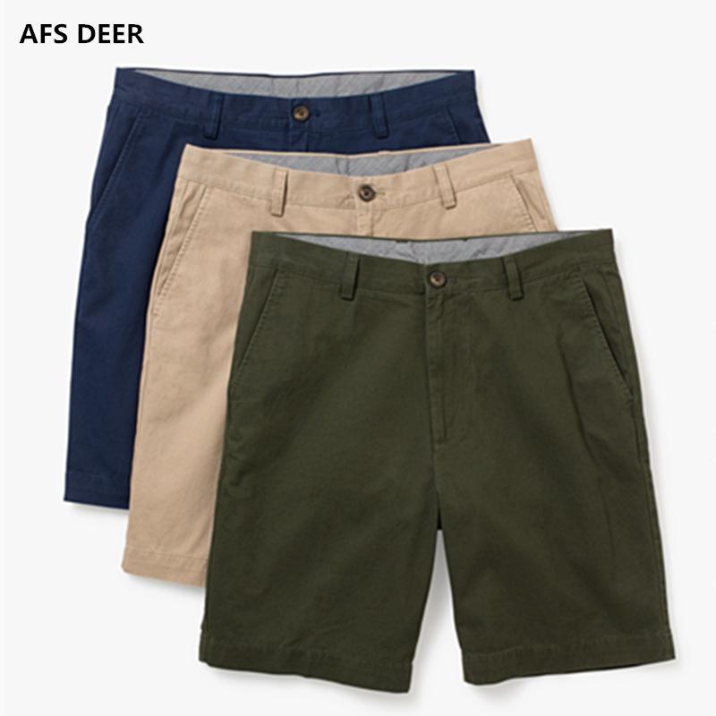 Sommer neue beiläufige Kurzschlüsse Männer klassische Passform perfekte kurze feste 100% Baumwolle Standard Flat-Front Stretch Chino Beach Short Y19050501