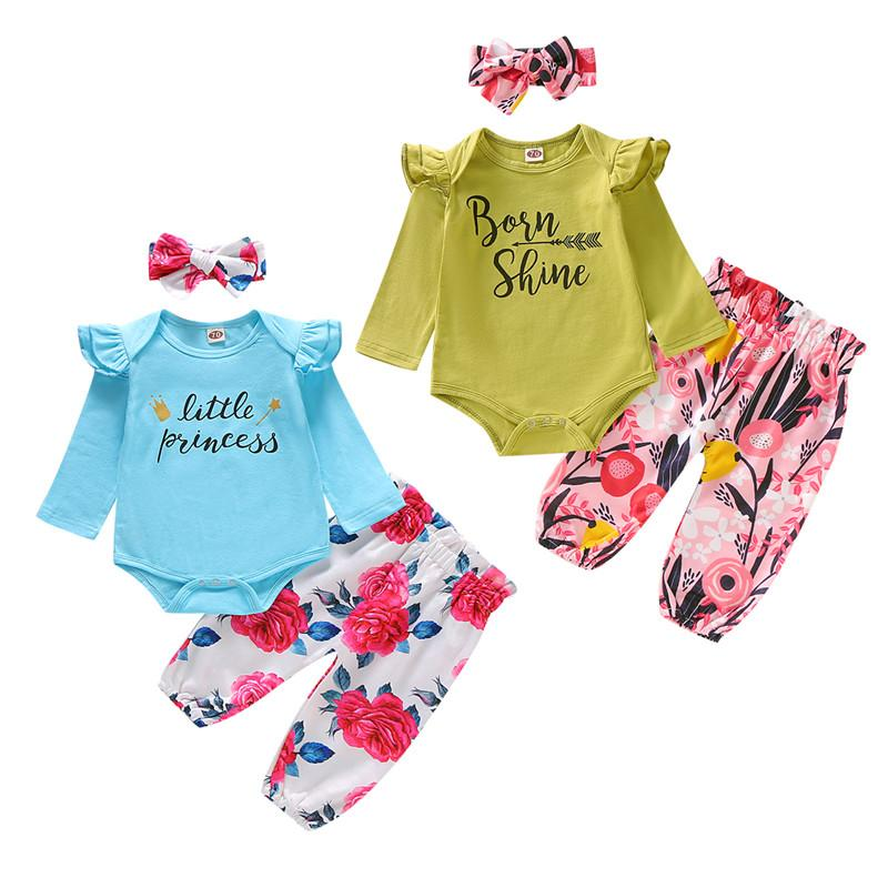 Mikrdoo Newborn Infant Baby Girl Letters Print Romper Top + Floral Pants with Headband Cute 3PCS Outfit