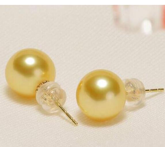 Ein Paar 10-11mm Runde Südsee Gold Perle Ohrstecker 14k Gold Zubehör