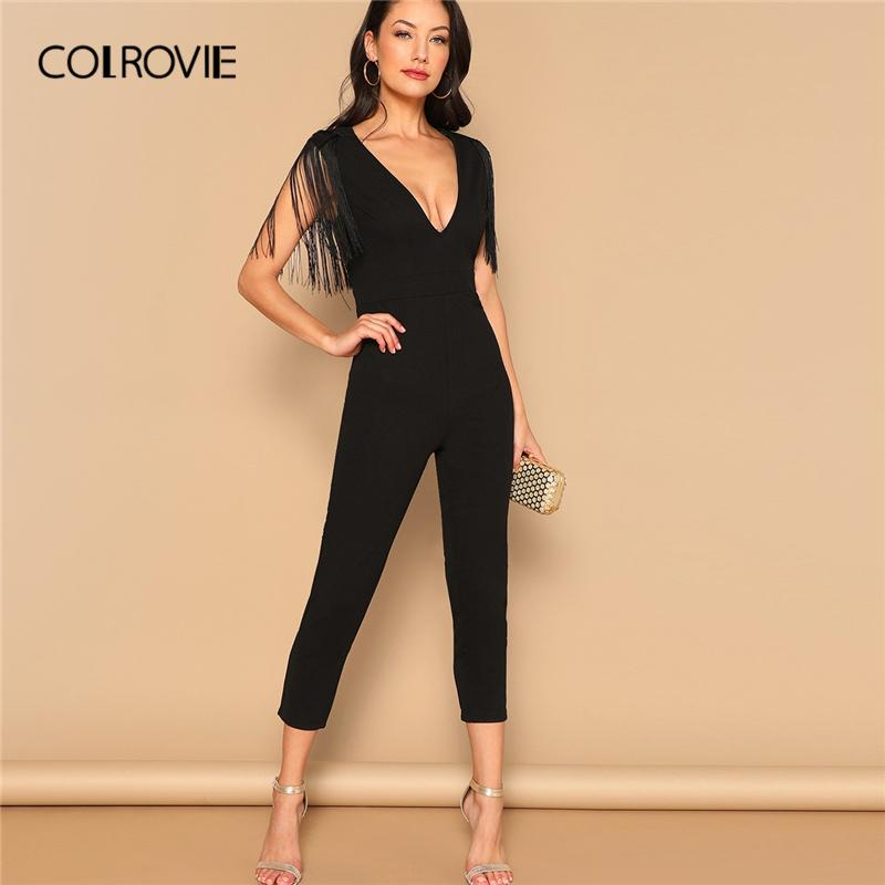 Colrovie Black V-neck Fringe Skinny Sexy Party Jumpsuit Romper 2019 Spring Office Ladies Elegant Jumpsuits For Women Combinaison Y19060501