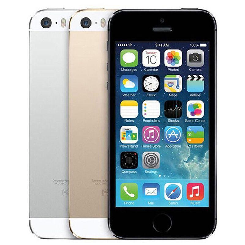 Refurbished Original Apple iPhone 5S With Fingerprint 4.0 inch 1GB RAM 16GB/32GB/64GB Dual Core IOS A7 8.0MP Unlocked 4G LTE Phone DHL 1pcs