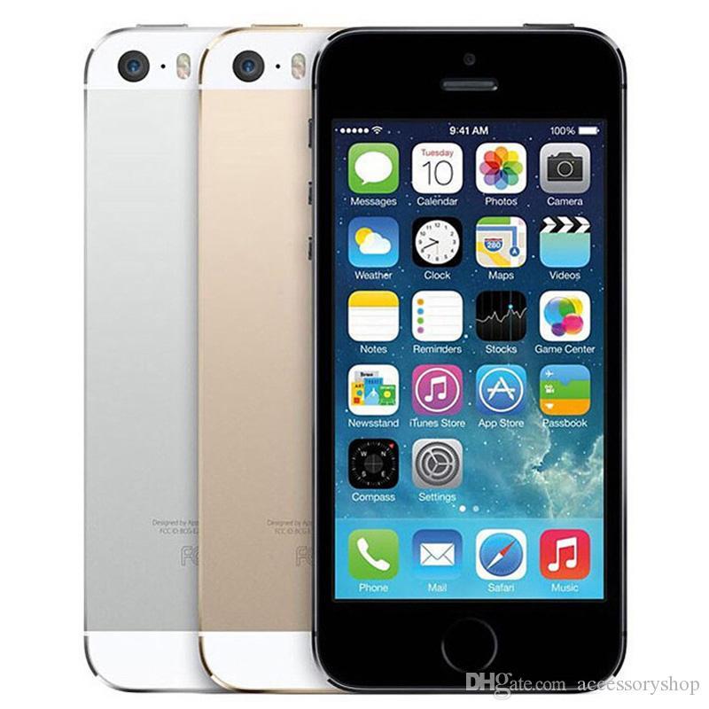 Восстановленные оригинальные Apple iPhone 5s с отпечатком пальцев 4,0 дюйма 1 ГБ ОЗУ 16 ГБ / 32 ГБ / 64 ГБ Двойной ядра IOS A7 8.0MP разблокированы 4G LTE Phone Free DHL 5 шт.