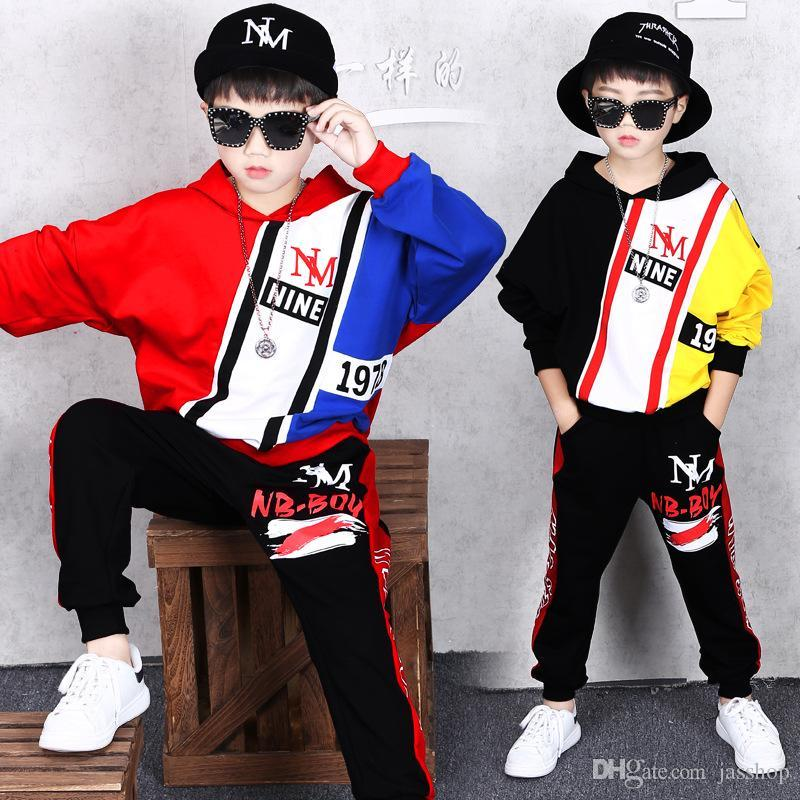 2 Sets Children's Clothing Boys Spring and Autumn Sports Suit Coat New Baby Casual Handsome Sweater Sweatpants Hip Hop Jacket Shirt