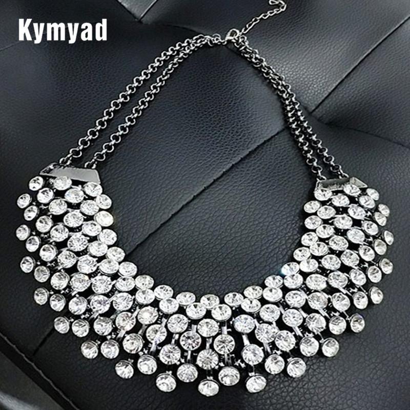Kymyad Collier Femme Trendy Kristall Statement Ketten-Anhänger-Frauen Schmuck Mehrschichtige Gliederkette Halskette Bijoux Colares