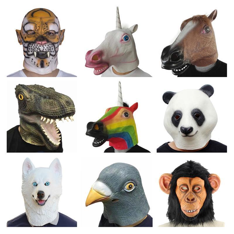 Creepy Horse tiger unicorn dog Rubber Animal Mask latex party Panda Animal Mask kids Party Halloween Masquerade Mask funny