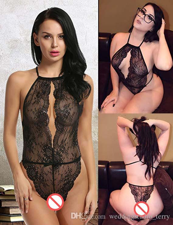2019 Amazon Sexy Dessous für Frauen Teddy One Piece Lace Babydoll Nachthemd