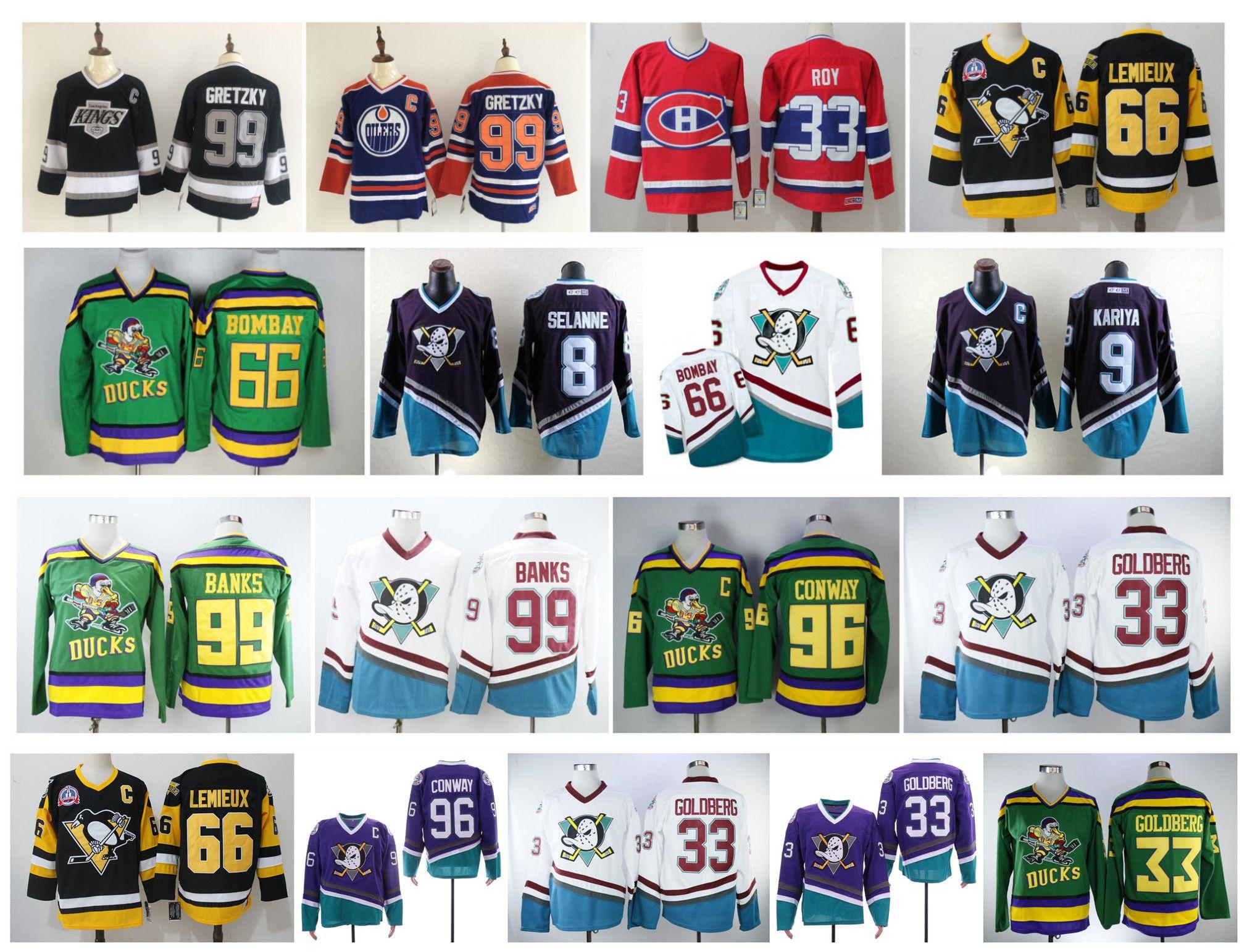 Vintage Anaheim Mighty Ducks Jersey Charlie Conway Kariya Teemu Selanne Adam Bank Mario Lemieux Mike Modano Wayne Gretzky Patrick Roy Hockey