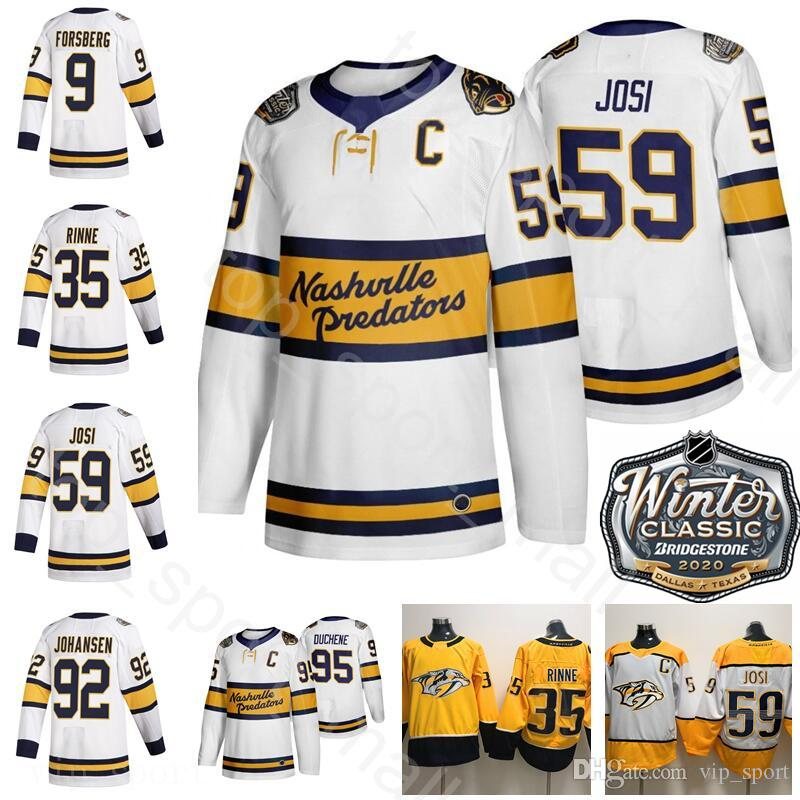 2020 Inverno clássico Nashville Predators Hockey 95 Matt Duchene Jerseys 92 Ryan Johansen 59 Roman Josi 35 Pekka Rinne 9 Filip Forsberg Branco