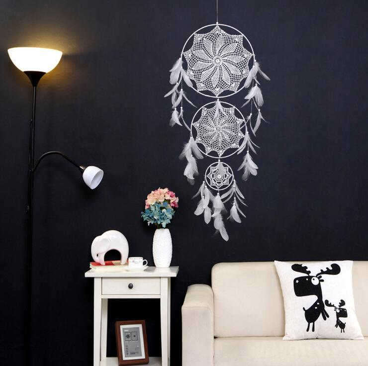 Dreamcatcher Wind Chimes Handmade Nordic Dream Catcher Net With Feathers 130 cm Wall Hanging Dreamcatcher Craft Gift Home Decoration