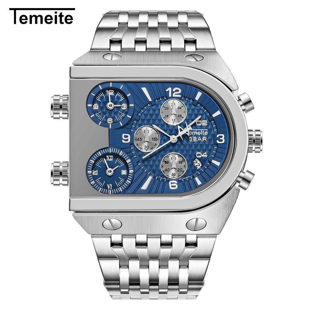 Temeite superior de la marca de los hombres de Big Time Square Dial 3 Zona de negocios relojes de cuarzo de los hombres impermeables militares Reloj Masculino Relógio