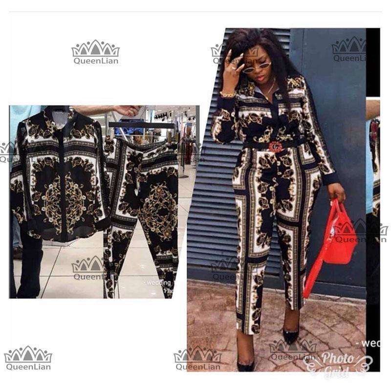 2018 new Fahsion L-XXXXL African Clothes For Lady Dashiki Top and Pants Suit Chiffon Dress