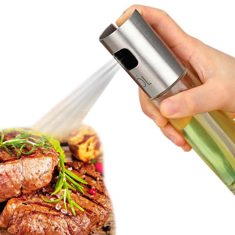 Botella de aceite en aerosol Bomba de vidrio Aceituna de oliva Cocina Acero inoxidable Olla de aceite Gotas a prueba de fugas Dispensador de aceite BBQ Herramienta de cocina