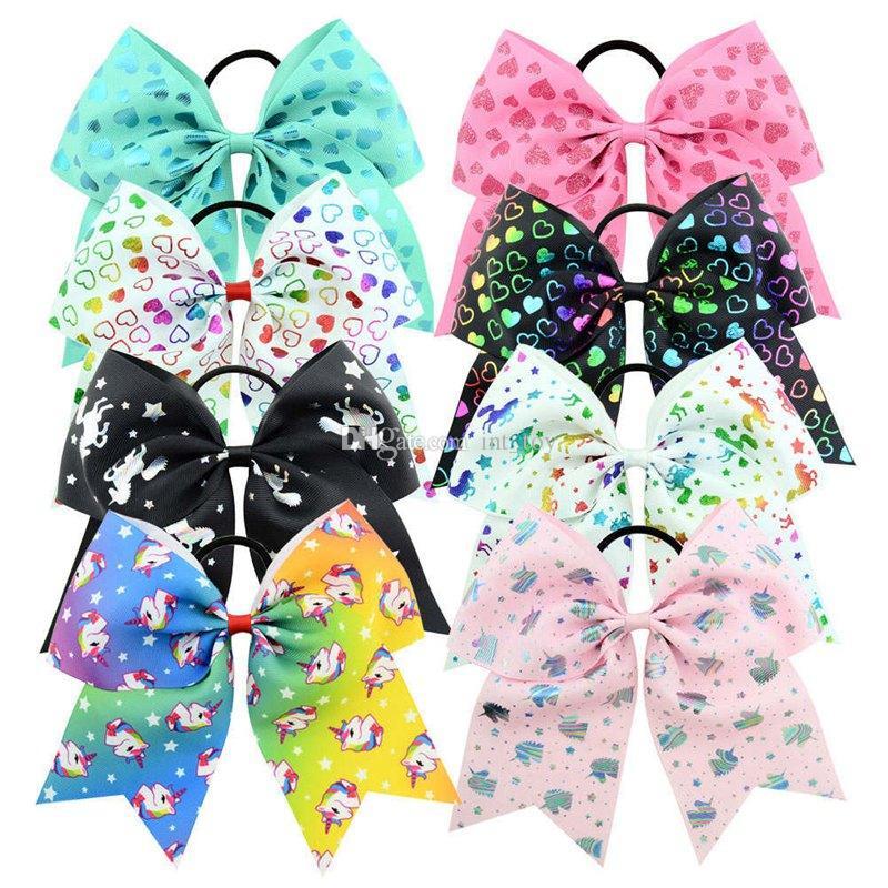 Rainbow Unicorn Cheer Bow Cheerleading Dance Hair Bow