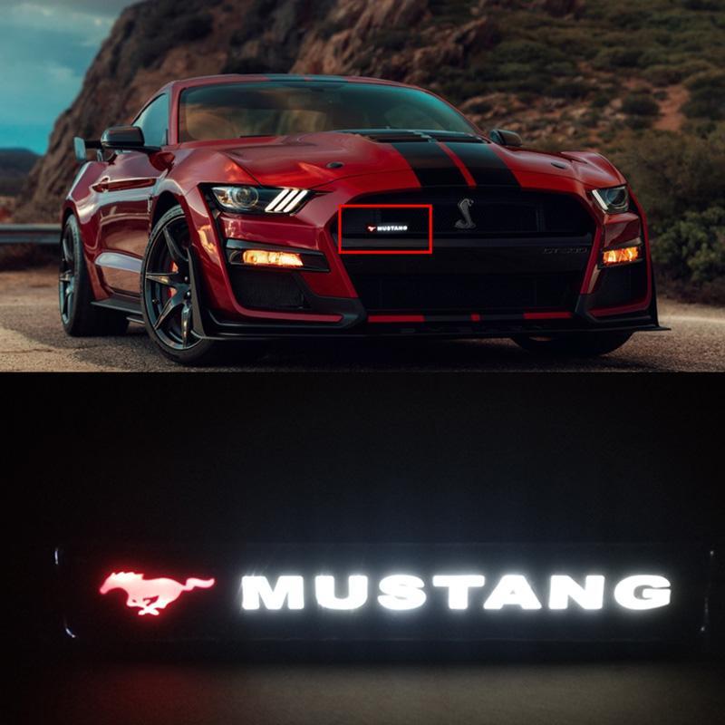 머스탱 포니 말 배지 엠블럼 DRL 일 실행 빛 후드 그릴 그릴 보닛 주도 로고 빛 램프를 들어 포드 머스탱 GT350 GT500