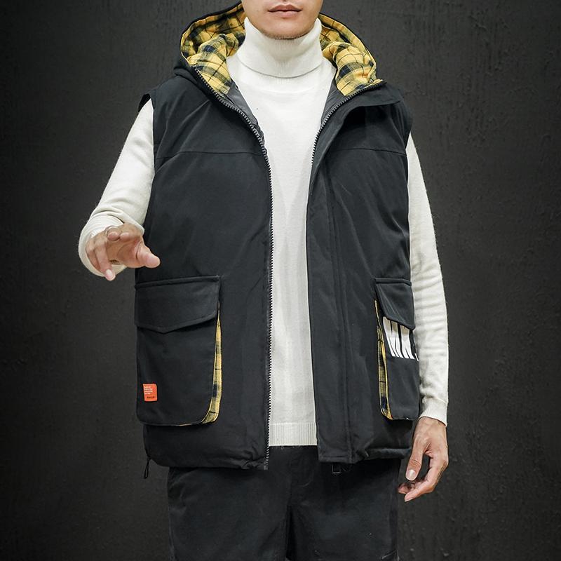 M-5XL Bodywarmer maniche Jacket Uomo Casual maglia degli uomini di marca Gilet Mens Warm Vest con cappuccio Giù Warm Plaid Cargo Mens Gillet