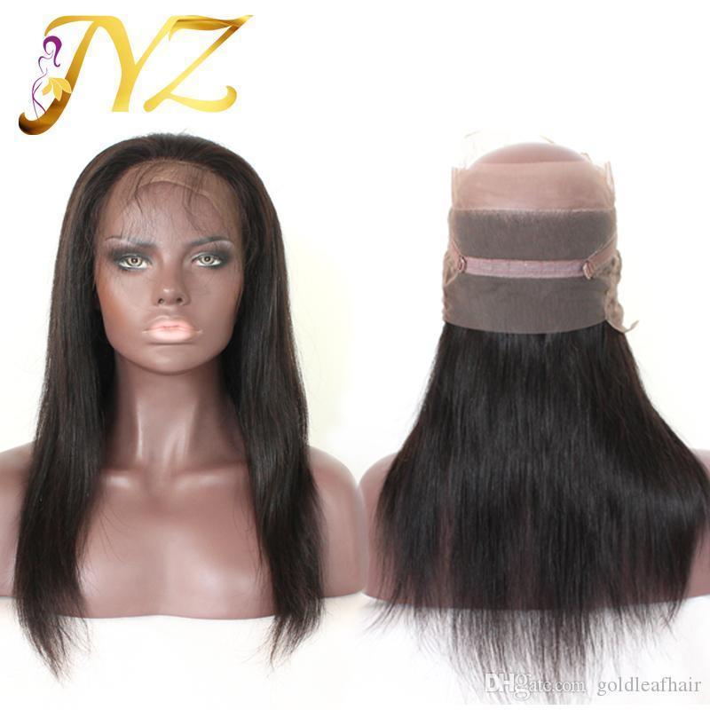 Pré arrancado 360 Lace frontal com peruca Cap peruana brasileira Cabelo Liso Beauty Hot frontal Natural Hairline 360 Lace Virgem Cabelo
