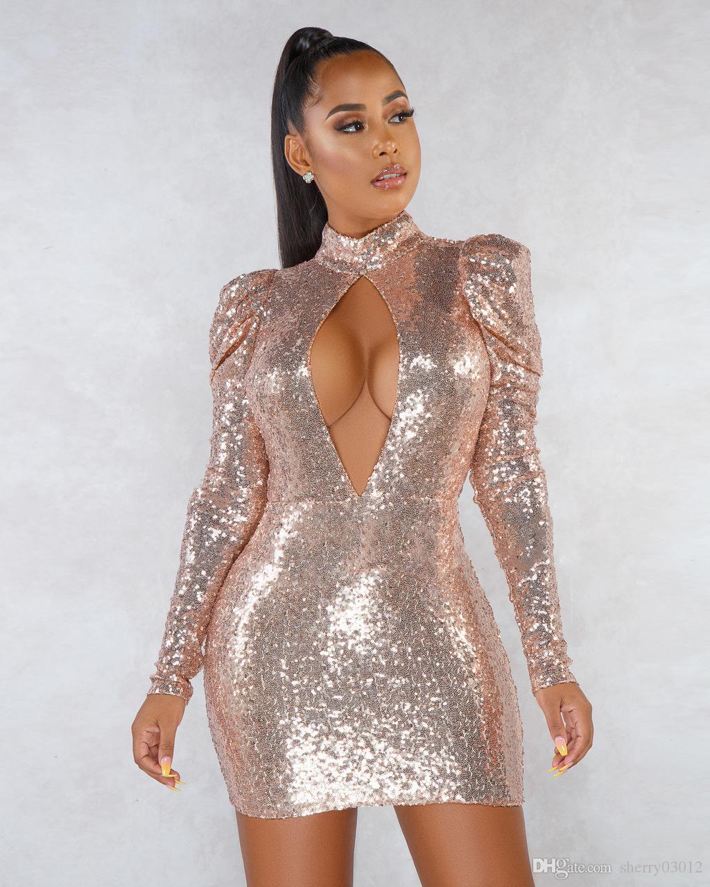 HISIMPLE 2019 femmes Paillettes maigre Vestidos Puff manches longues col montant Objet ou sujet détouré Mini robe moulante sexy Night Club soirée Backless Robe